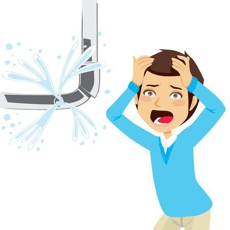 De mens wanhopig op zoek een barst leiding lekkende water