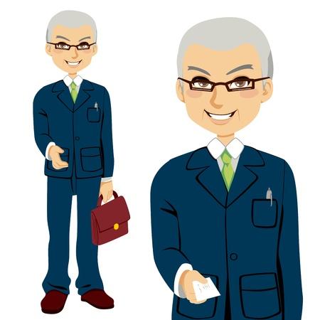 sales executive: Principal vendedor de dar la tarjeta de visita y ofrecer la mano de apret�n de manos