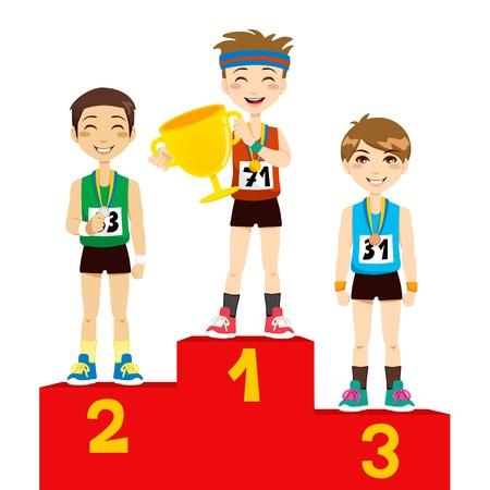 deportes caricatura: Jóvenes deportistas olímpicos hombres celebran en el podio de ganadores