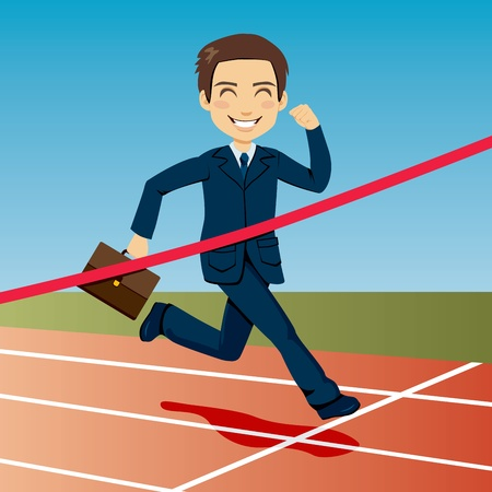 business event: Successful businessman arriving first at finish line winning