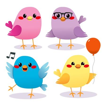 aves caricatura: Cuatro lindos y coloridos hermosos p�jaros peque�os que tienen un partido Vectores