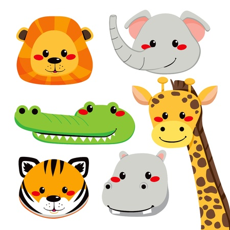 Collection of cute and funny wild safari animal faces Vector
