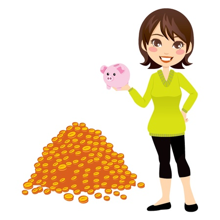 Woman holding piggybank in her hand with a big pile of gold coins money savings