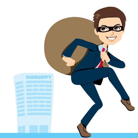 Thief Zakenman in pak het tillen van zware tas vol gestolen winst laten failliet bedrijf achter Stock Illustratie