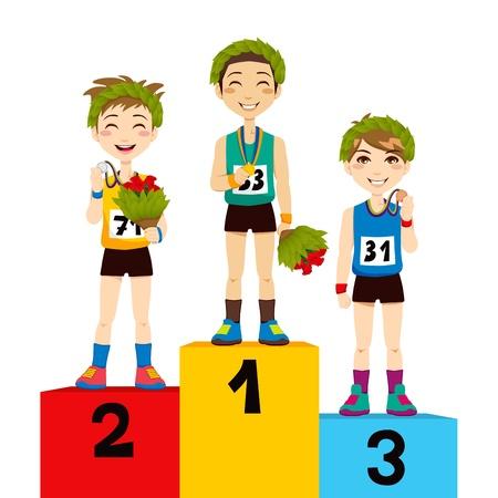 Junge athletische Sport-Männer feiern Sieg mit Blumen und Lorbeerkranz auf dem Podium