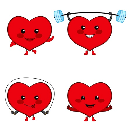 Collection of four cute heart cartoon characters exercising healthy sports Vector