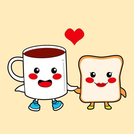 sweet love: Funny cartoon character couple breakfast chocolate cup and toast love