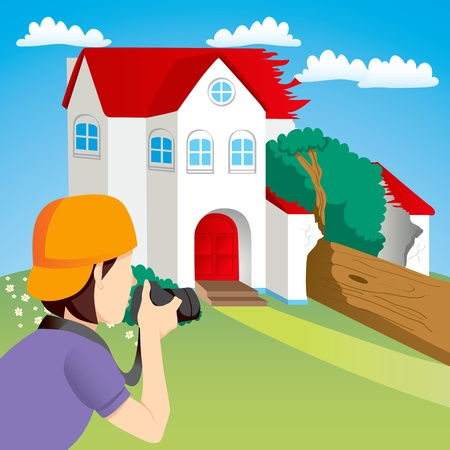 News photographer taking photos of house destroyed by falling tree Vector