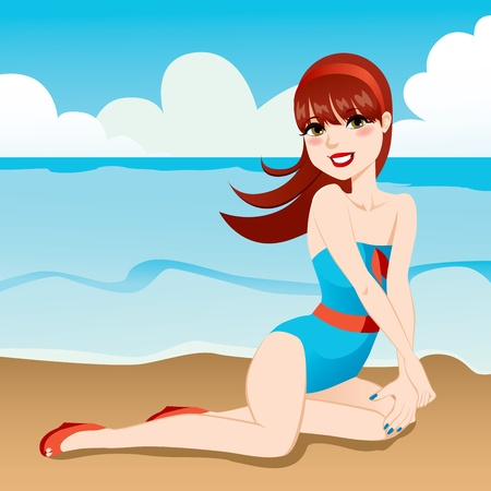 pinup: Beautiful sexy pinup girl posing on the beach shoreline