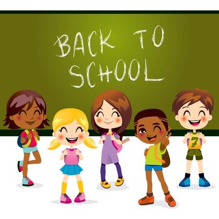 Five children happy back to school standing in front of classroom chalkboard Vector