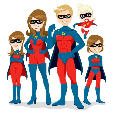 superhero cape: Portrait of beautiful family posing together in superhero costumes with cape