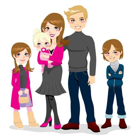 Portrait of happy beautiful family posing together smiling Vector