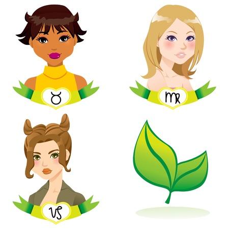 astrological: Cartoon illustration of earth zodiac sign woman faces