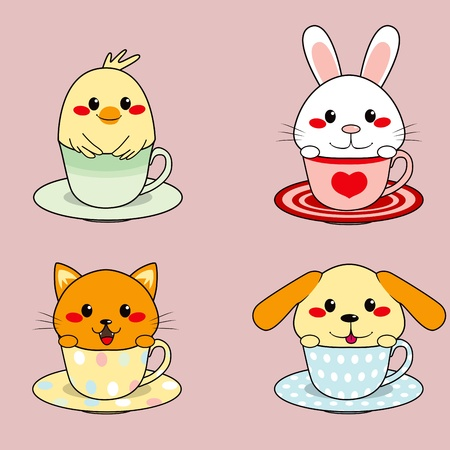kawaii: Four adorable cute little animals inside colorful teacups