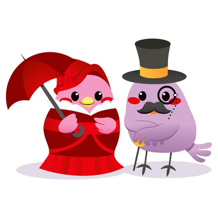 Cute married bird couple in Victorian clothing style Vector