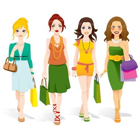 fashion shopping: Cuatro chicas de moda hermosas caminando con bolsas de la compra