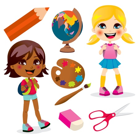 cartoon school girl: Two little girls back to school with many education items Illustration