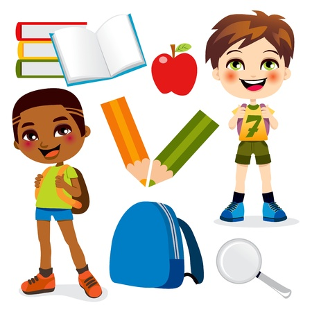 Two little boys back to school with many education items Vector