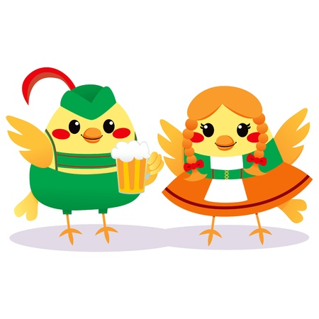Cute bird couple with traditional Tyrolean clothing