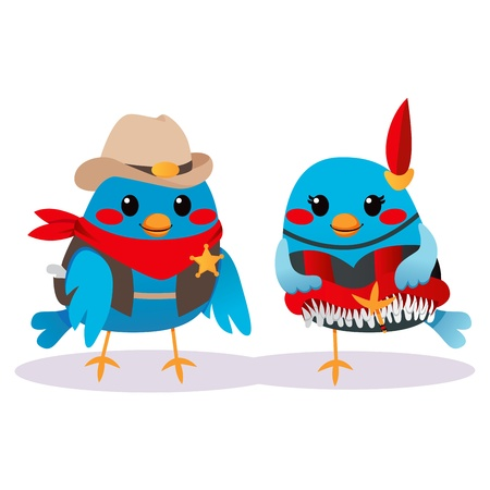 cancan: Cute male bird Sheriff and female bird can-can dancer couple Illustration