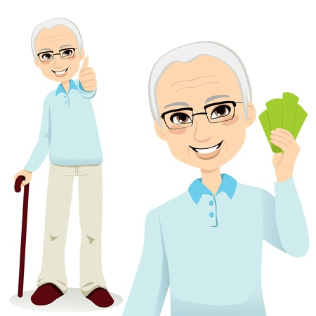 guy with walking stick: Happy successful senior man holding money fan and making thumbs up sign