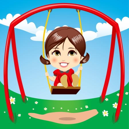 Sweet girl having fun swinging on playground swing Vector
