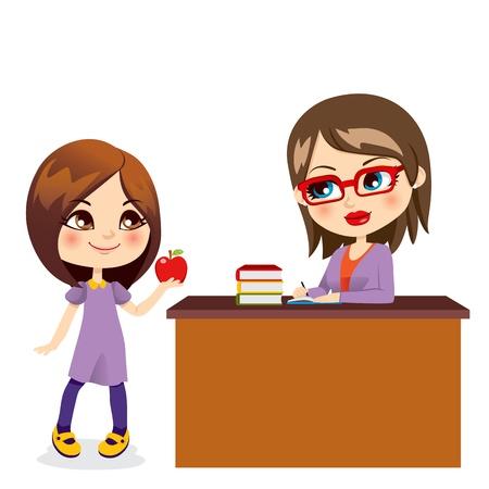teacher student: Colegiala linda da manzana roja dulce con la maestra joven y bella Vectores