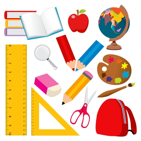 school backpack: Collection of various back to school and student objects Illustration
