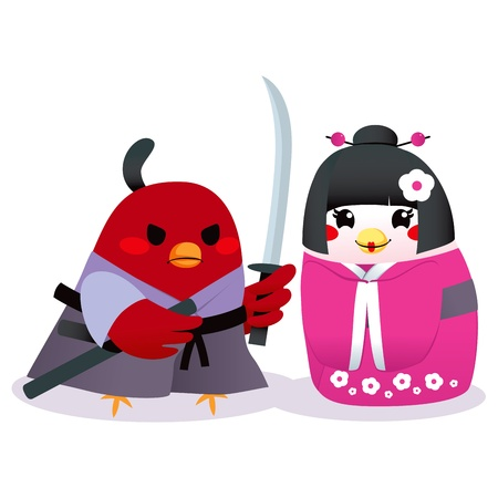 Cute male bird Samurai and female bird Geisha couple in traditional clothing Vector