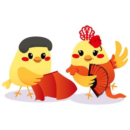 Cute male bird Torero and female bird Flamenco dancer couple Vector
