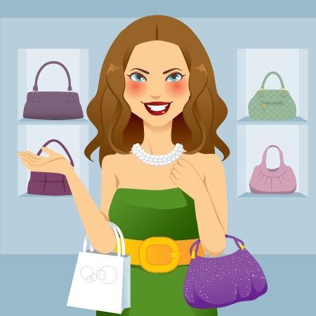 Beautiful shopaholic woman shopping at handbag store Vector