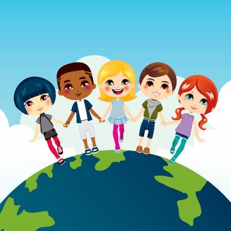 Happy multi-ethniques des enfants se tenant la main sur le dessus de la Terre globe Vecteurs