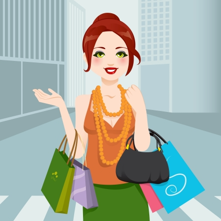 Beautiful chic fashion woman walking through city avenue with shopping bags and handbag Vector