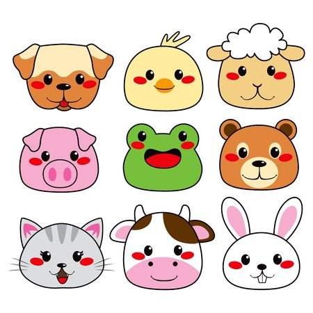 Collection of nine funny and cute happy animal faces smiling Vector