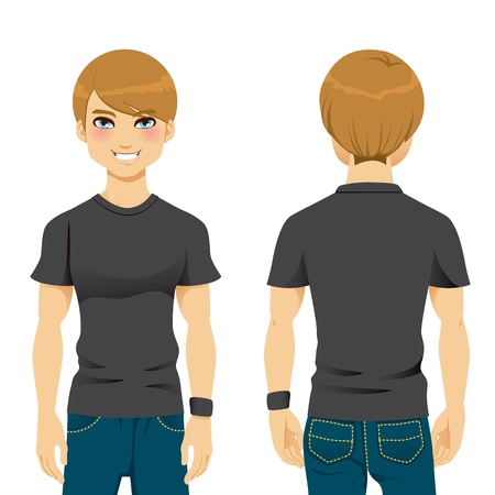 back view man: Front and back view of handsome man wearing blank black tight tshirt template Illustration