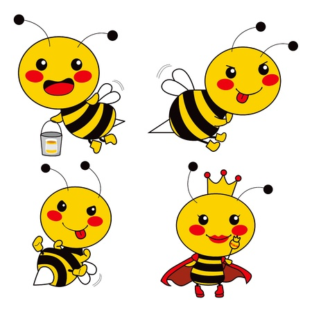 comic wasp: Cute bee worker with two soldiers and the Queen bee Illustration