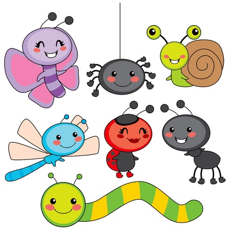 cartoon bug: Collection of cute funny colorful happy little bugs smiling