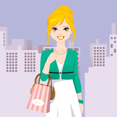 happy shopper: Beautiful chic fashion woman walking on city street with shopping bag and handbag Illustration
