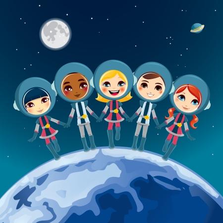 Cinque simpatici bambini, tenendosi per mano degli astronauti sogno esplorare lo spazio insieme