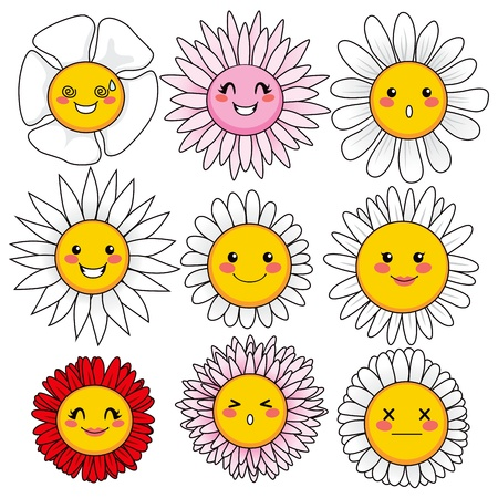 flowers cartoon: Collection of nine cute and funny flower faces with different facial expressions