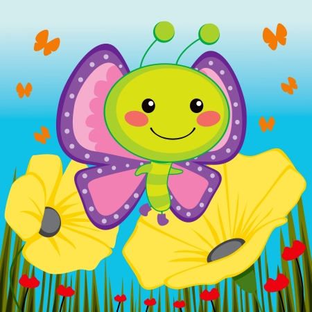 Cute butterfly flying over beautiful yellow flowers Vector