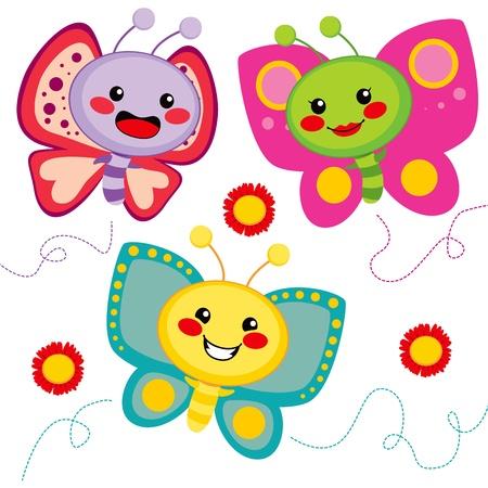 귀여움: 세 귀여운 화려한 나비 친구는 함께 비행 일러스트