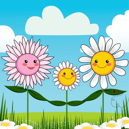Cute and beautiful flower family together in garden Stock Vector - 14126567