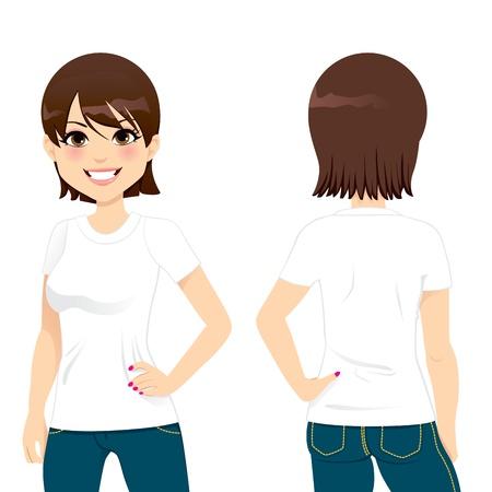 Vista frontal y posterior de la mujer hermosa que desgasta en blanco blanco apretada camiseta de plantilla Ilustración de vector