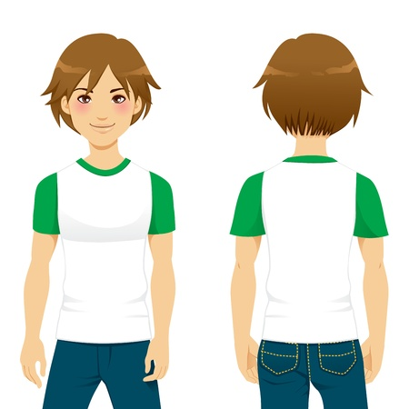 young man jeans: Front and back view of handsome man wearing white and green tight t-shirt template