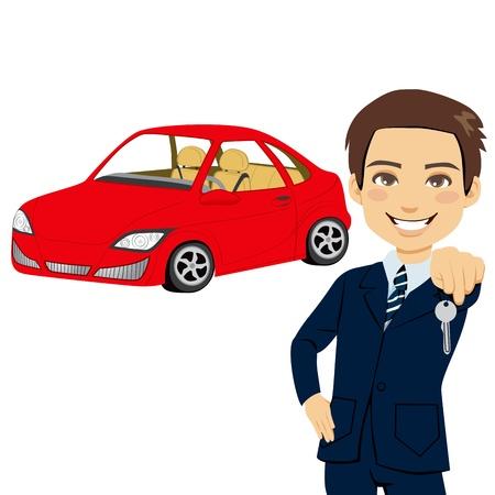 Junge Autoverkäufer Halten der Taste eines nagelneuen roten Sportwagen