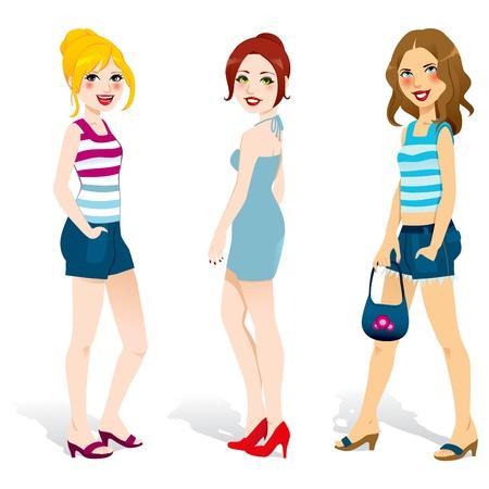Drie mooie vrouwen met zomerse mode kleding