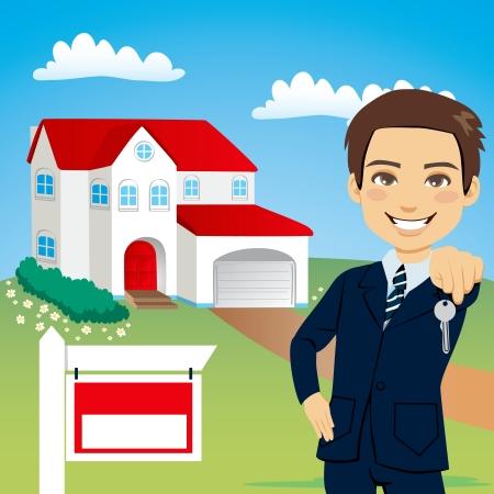 Agente de bienes raíces manteniendo pulsada la tecla de una nueva casa