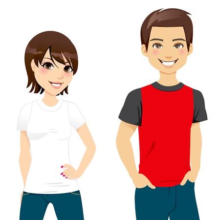 Vooraanzicht van een tiener paar dragen van witte en rode en zwarte t-shirt