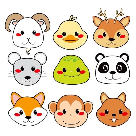 fox face: Colecci�n de nueve animal feliz divertido y lindo caras sonrientes Vectores